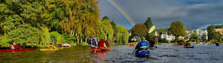 Alstergrachtenfahrt - Rondeelteich mit Regenbogen